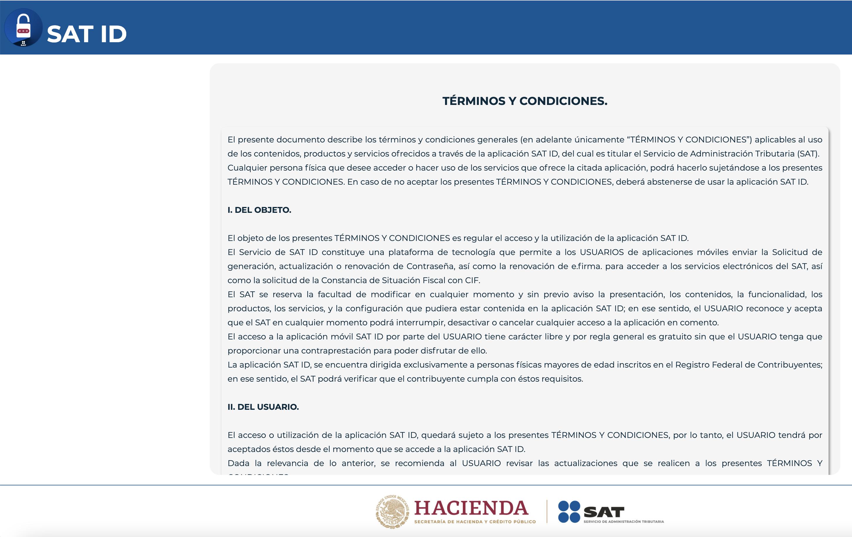 términos y condiciones SAT id